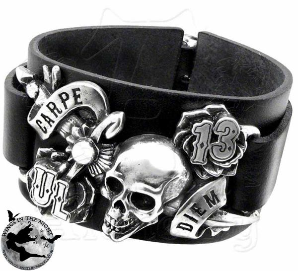 Alchemy Gothic Carpe Diem Skull Leather Wristband
